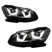 Black Projector Headlight Dual U Bar DRL LED For VW Golf MK6 2009 2012