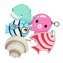 Смішні океанські тварини жіночі шкіряні міні-гаманці дрібна сумка для маленької дівчини Finsh Форма гаманець гаманець Keyring Змінити сумочку для карток