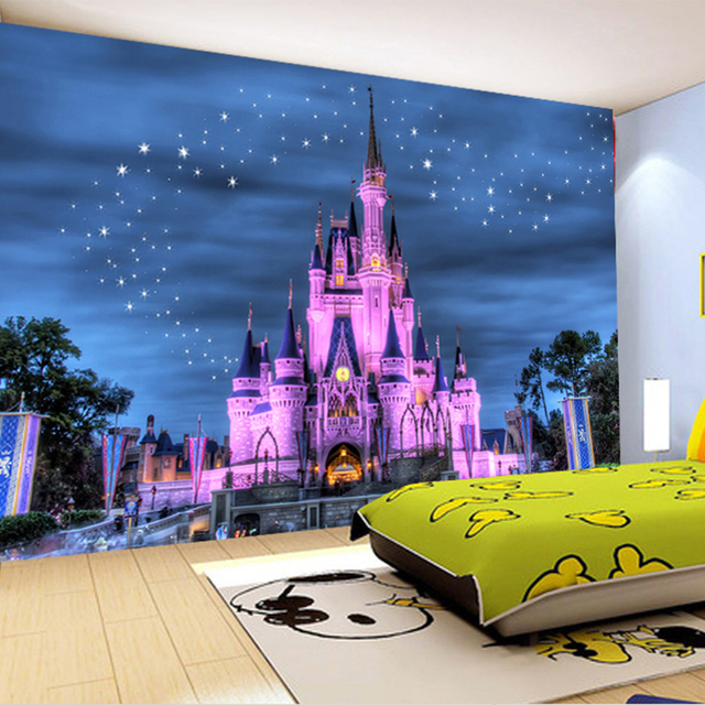 Disney castle wall mural for Castle mural kids room
