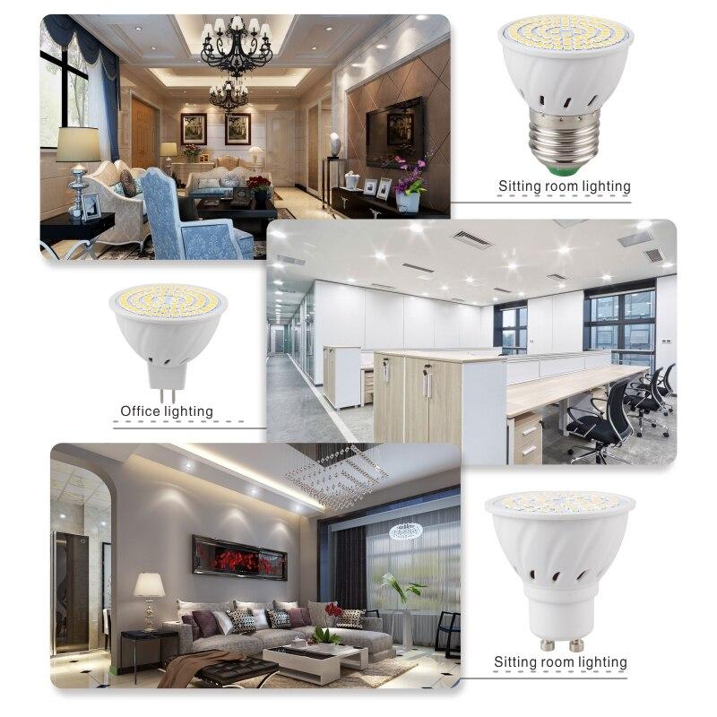 Купить с кэшбэком LATTUSO 6pcs/lot Lampada LED Bulb E27 E14 GU10 B22 MR16 110V 220V Bombillas LED Lamp Spotlight 48 60 80 LED Lampara Spot Light