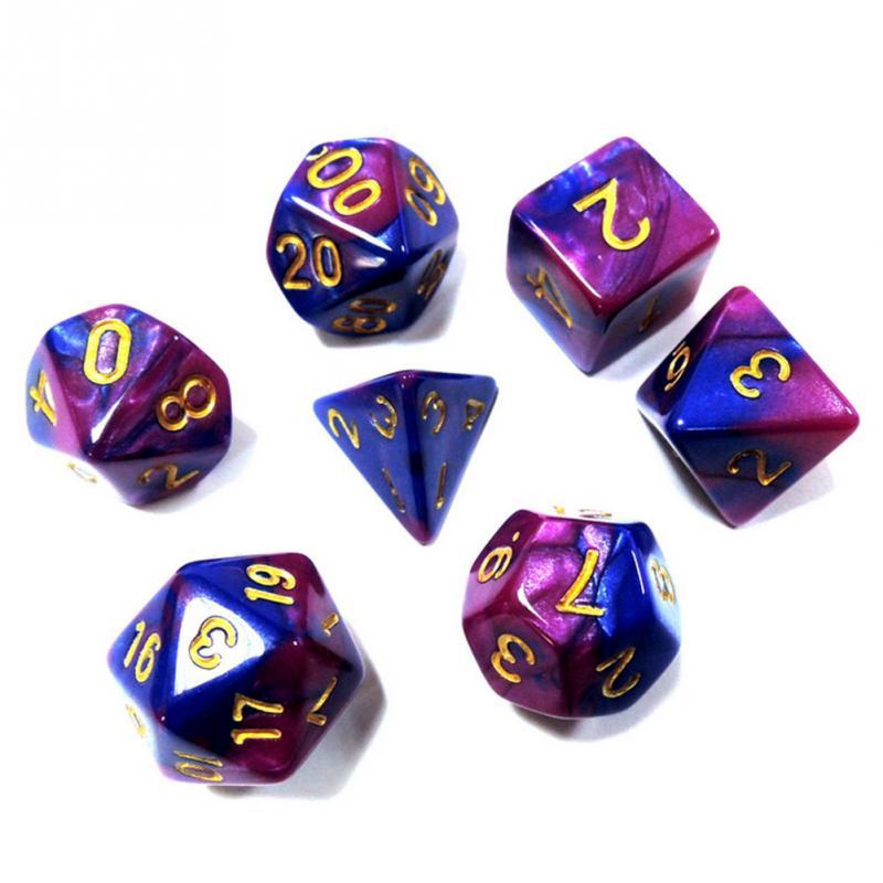 7pcs Dice Set With Nebula Effect Poker D&d D4 D6 D8 D10 D% D12 D20 Polyhedral  TRPG Games Rpg Game Dice