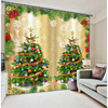 3D Curtains Christmas Decoration Printing For Bedding Room Living Room Blackout Cotinas Fantasy Forest Wood Door