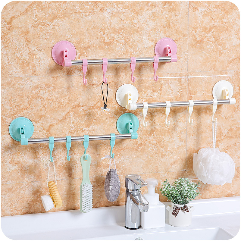Plastic Suction Cup Kitchen Hanger Organizer Bath Towel Clothes Bathroom Hook Cooking Tool Vacuum Storage Rack Free Nail -30