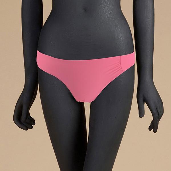 M& M 12 цветов, Раздельный купальник из двух частей, сексуальный купальник с низкой талией, женские одноцветные плавки, бразильские Плавки бикини - Цвет: Розовый