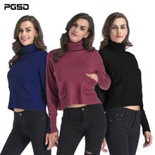 PGSD New Autumn Winter Simple fashion Pure color Women Clothes Long sleeves Turtleneck Pocket Thick Knitted Bottom Shirt female