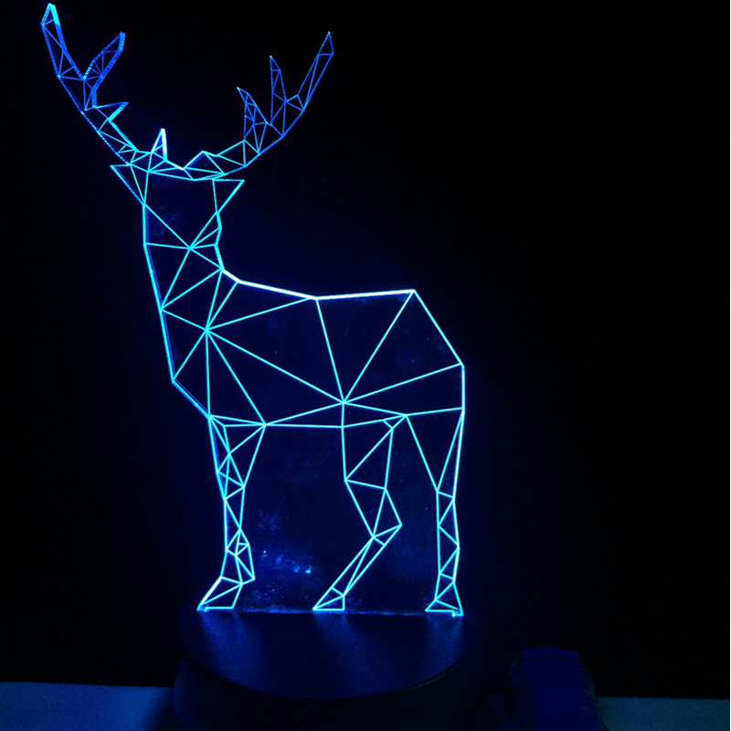2017 Retro Animal Decoration Reindeer 3D USB LED Lamp Elk Deer Colors Changing Christmas Romantic Gift Desk RGB Night Light Bulb free shipping christmas deer table european diy arts crafts home decorative elk wood craft gift desk self build puzzle furniture