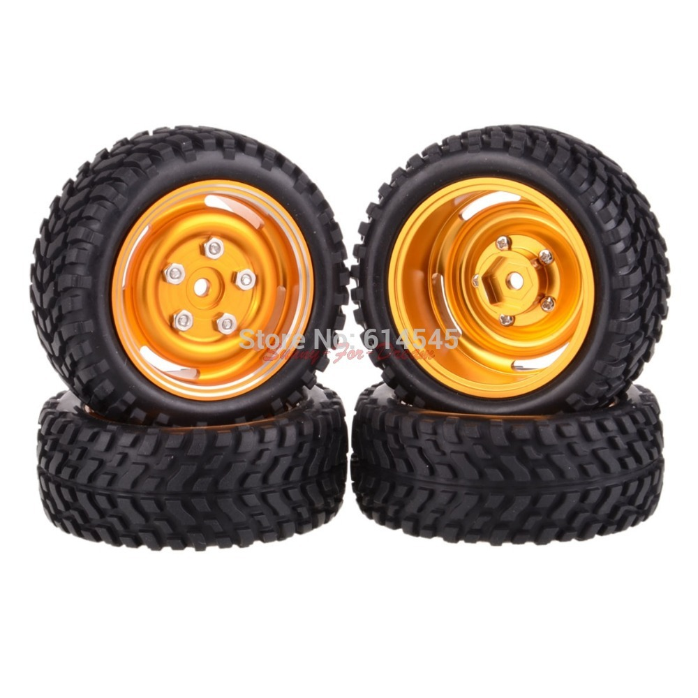 SET RC Rally 1:10 Car On Road OR 1:16 Off-Road Metal Wheel Rim & Tires 104G-7004 4pcs rubber rc racing tires car on road wheel rim fit for hsp hpi 1 10 high quality rc car part diameter 68mm tires