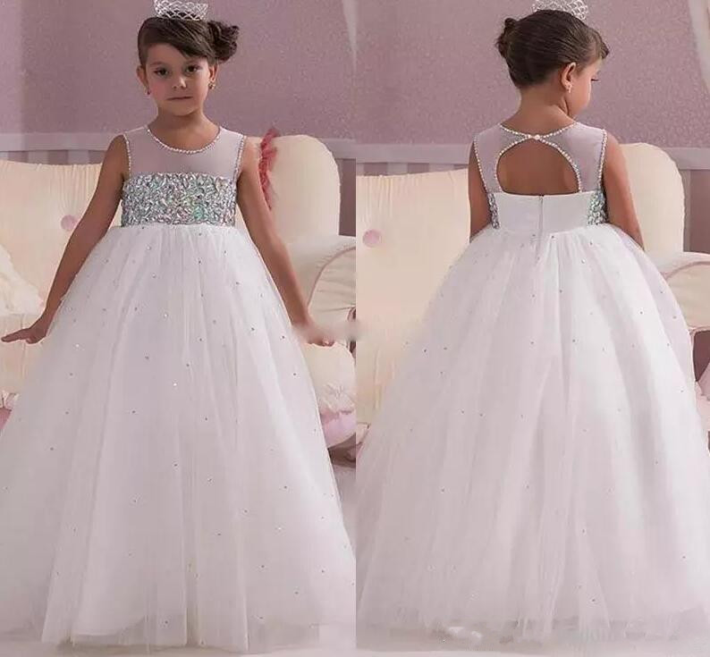 2018 Princess White Wedding Flower Girl Dresses Empire Waist Crystals Open Back Custom Made Communion Gown plus size printed empire waist peplum top