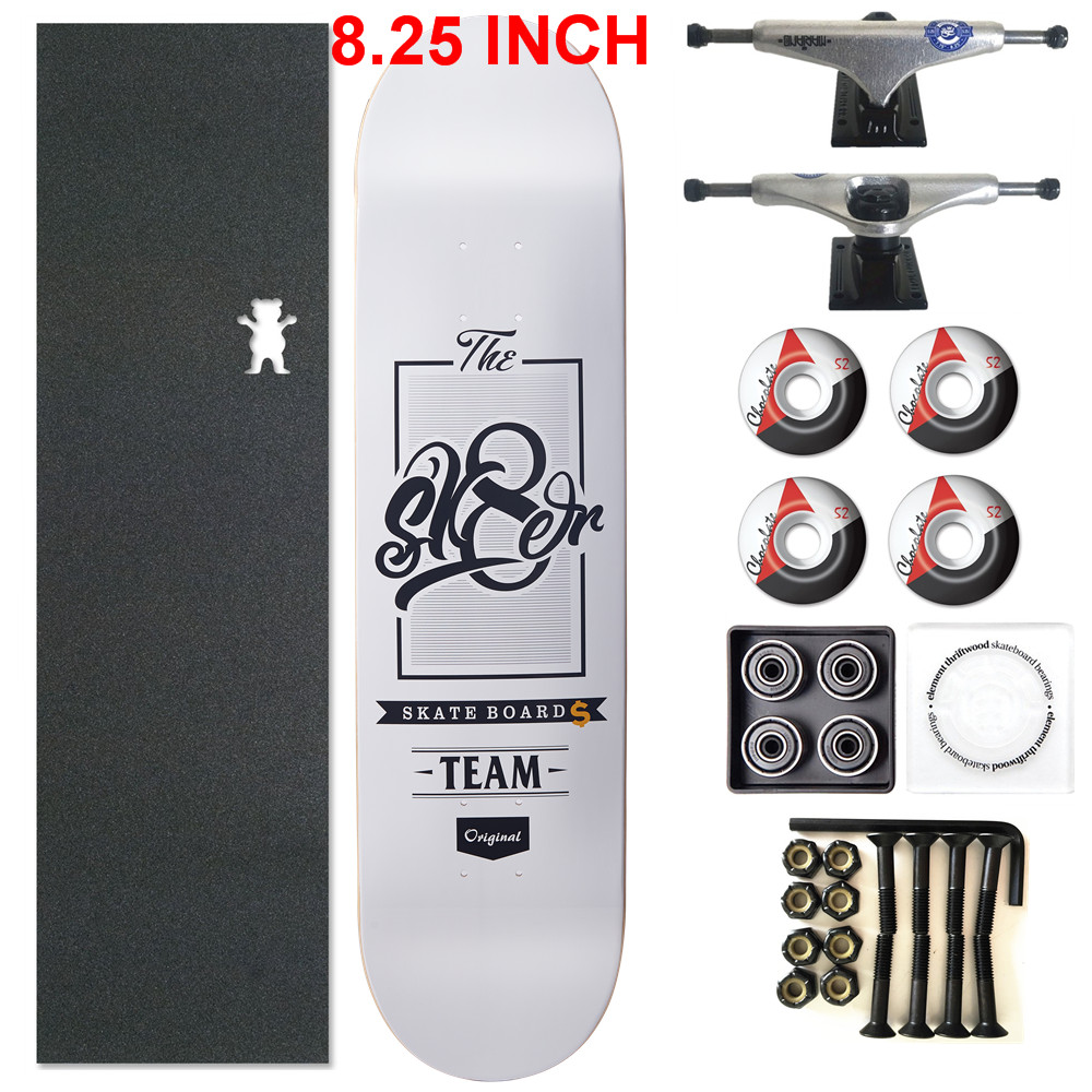 SKATER 1 Set Pro Quality Complete Skateboard Deck 8.25 Inch Skate Board Wheels & Trucks Double Rocker Skateboard Parts