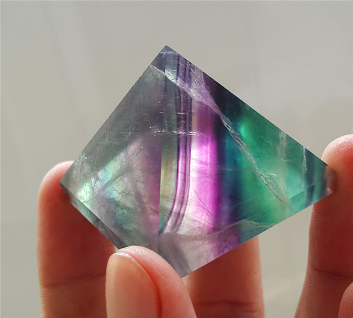Natural Fluorite Quartz Crystal Polished pyramid Specimen Healing