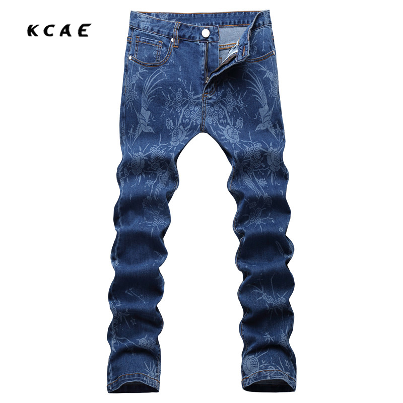 New 2017 Blue Flowers Print Jeans Mens Club Outfits Fancy Stage Costume Denim Jeans Homme Mens Dress Pants Slim Fit Pantalones маска selective professional powerplex mask