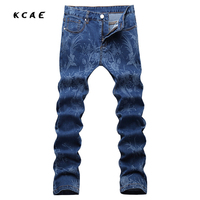 New 2017 Blue Flowers Print Jeans Mens Club Outfits Fancy Stage Costume Denim Jeans Homme Mens