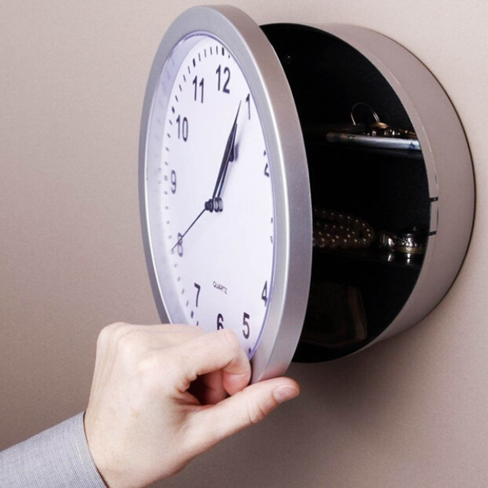 Creative Storage Wall Clock Money Cash Jewellery Keys Safebox Clock Home Decroation Office Security Safe