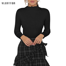 90s Rib Knitted Long Sleeve Black Shirt 2018 Autumn Women Fashion Ruffles Turtleneck Slim Top