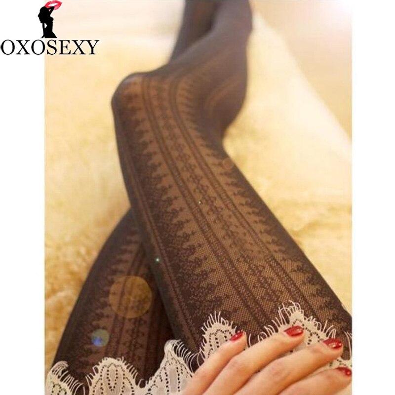 Fashion autumn black white Retro lace hollow sexy stockings Women Fishnet Pantyhose Mesh Thigh High Stocking sexy lingerie 036
