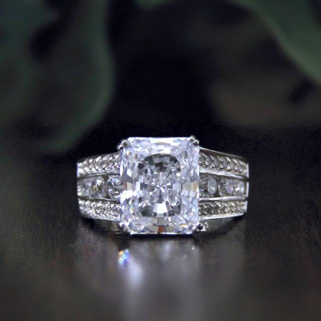 Кольцо Для Женщин 6.22CTW Подушка Cut Имитация Алмазный S925 Стерлингового Серебра с золотом Обручальные Обручальные Кольца Изящных Ювелирных Изделий bague