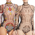 New Trendy Women's Sexy High-necked Long Sleeve Bodycon Slim Print Jumpsuit Playsuit New Arrival