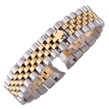 HENGRC 20mm Stainless Steel Watch Band Strap Barcelet Women Fashion Curved End Watchbands Deployment Clasp Buckle Accessories все цены
