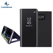 Leanonus Smart Clear View Cas Flip Couverture Pour Samsung Galaxy Note 5 S6 S7 bord Plus A3 A5 A7 2017 A520 Miroir Cas Stand logement