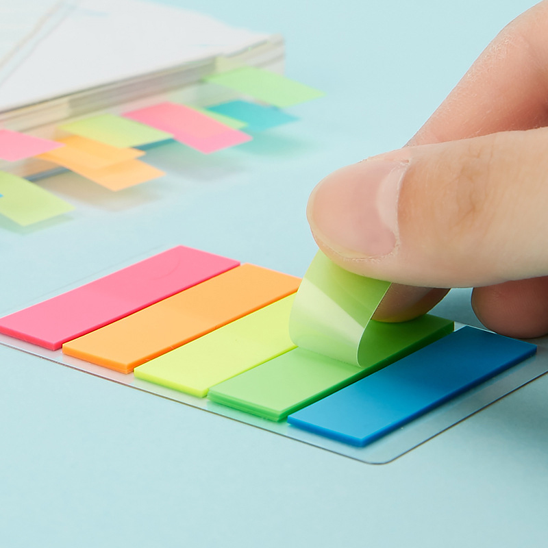 Creative Transparent Fluorescent Index Planner Stickers Classification Index Stickers BookMarker Memo Pad Self-Stick Notes