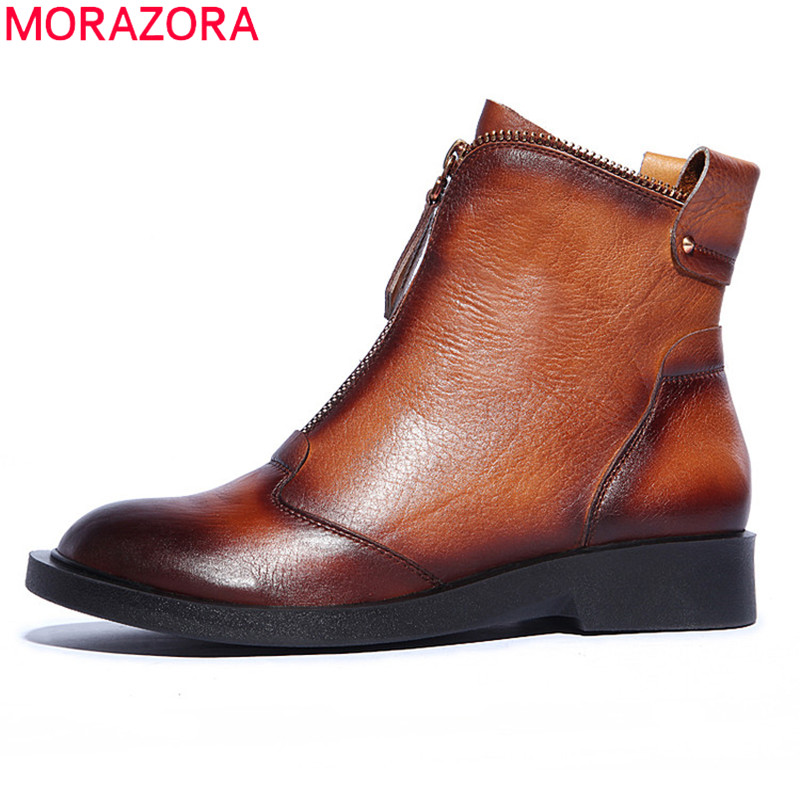 MORAZORA 2017 new brown black genuine leather boots women's ankle boots flat heel fashion motorcycle  boots autumn winter shoes front lace up casual ankle boots autumn vintage brown new booties flat genuine leather suede shoes round toe fall female fashion