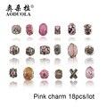 18 PCS de Prata Banhado A Diy Murano Rosa Contas de Cristal Encantos Fit Pandora Charme Pulseiras Acessórios de Moda para a Jóia Diy