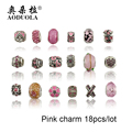 18PCS Silver Plated Diy Murano Pink Crystal Beads Charms Fit Pandora  Charm Bracelets Fashion Accessories for Diy Jewelry