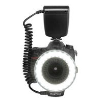48 Macro LED Ring Flash Bundle With LCD Display Power Control Adapter Rings And Flash Diffusers