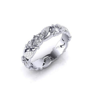 8seasons Rings Silver-Color Wedding-Bands Engagement Women Plant for Party Hollow-Out