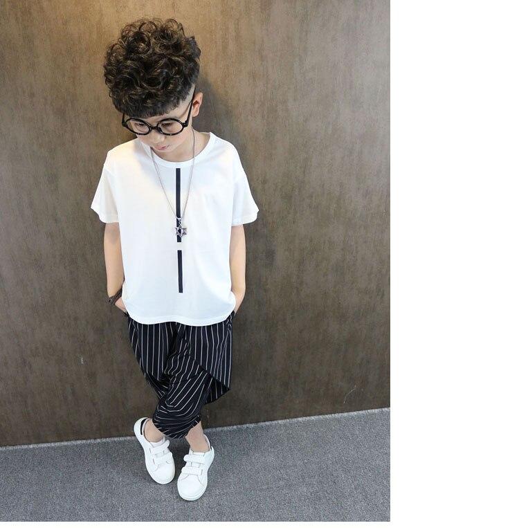 Boy short-sleeved 2018 new Korean wave children's clothing summer dress big white t-shirt children's compassionate loose half loose fitting slit midi t shirt dress