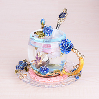 Europe Style colorful glass cup rose enamel applique crystal cup tea Cup Wedding cup creative Wedding gift Home Drinking Ware