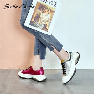 Image 5 - Sorriso círculo mulher tênis sapatos de plataforma plana para mulher fundo grosso moda cores misturadas sapatos casuais 2019 primavera
