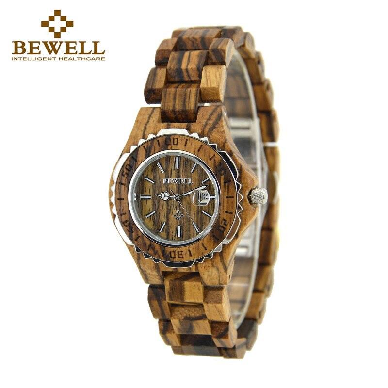 BEWELL Top marque Designer horloge belle heure zèbre montres en bois avec mouvement japon montres à Quartz bois boîte-cadeau 100BL