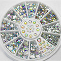 2x Nail Wheel White Multicolor Acrylic Nail Art Decoration Glitter Rhinestones Stickers Manicure Tools