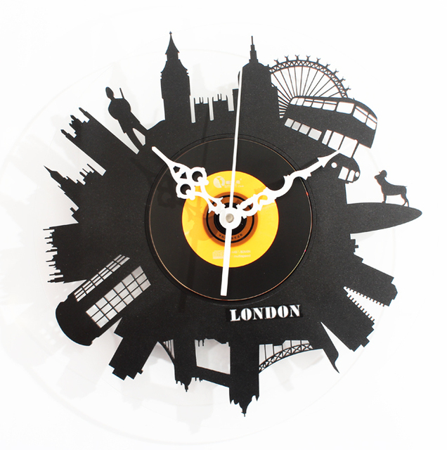 Nostalgic retro style fashion creative CD film wall clock vinyl albums clocks furniture wall clock quietly