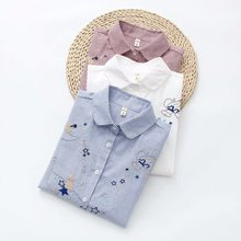 Embroidery Shirt Tops Striped Blouse Long-Sleeve Star Casual Cotton Women Lady Blusa-Feminina