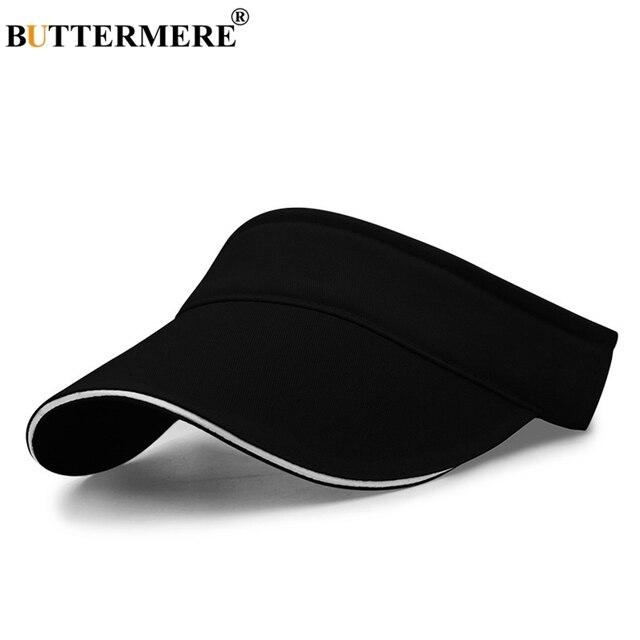 BUTTERMERE Visor Sun Hat Men Women Black Cotton Classic Spring Summer Hat Male Adjustable Casual Fashion Basic Beach Hat And Cap