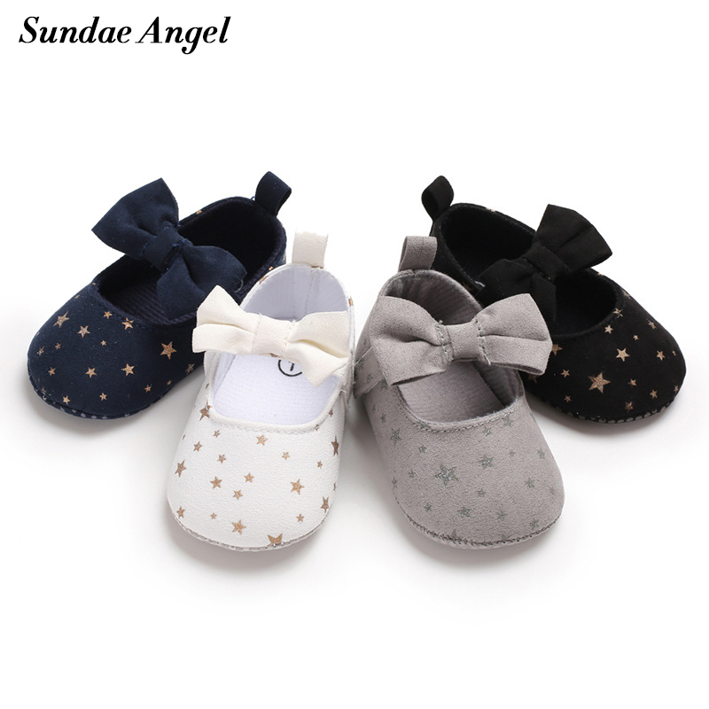 Sundae Angel Toddler Girls Shoes First Step Lace Up Butterfly Knot Non-slip Cotton Fabric Star Newborn Girl Baby Shoes Prewalker