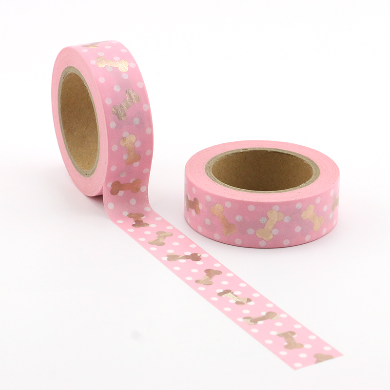 1X cute pink bones and dots Washi Tape Colors Set Stationery Decorative Tape Scrapbooking Christmas washi tape Scrapbook Paper in Office Adhesive Tape from Office School Supplies