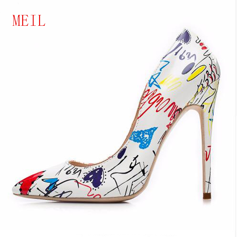 Size 42 Artistic Graffiti Printed Women Sexy Stiletto High Heels Ladies Wedding Party Pointed Toe Pumps European American Style