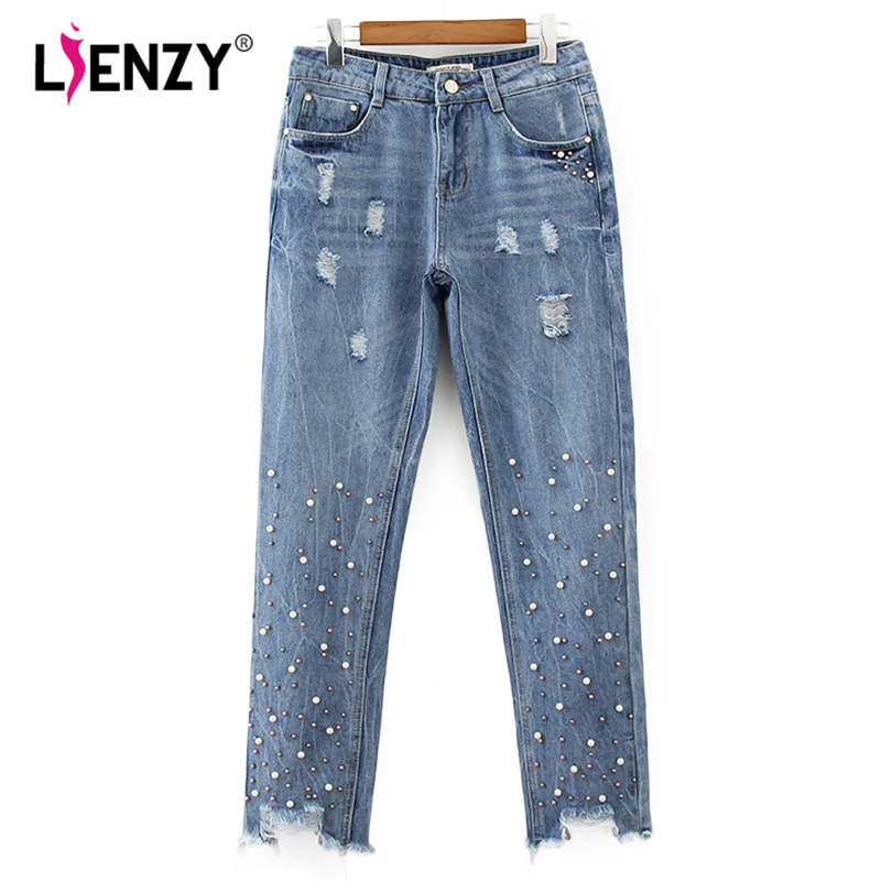 LIENZY Autumn Beadings BF Women Jeans High Waisted Ripped Leg Jean Moustache Effect Denim Pants Female Bottom new autumn beadings bf women jeans high waisted pearls black jeans for ankle length boyfriend denim pants female