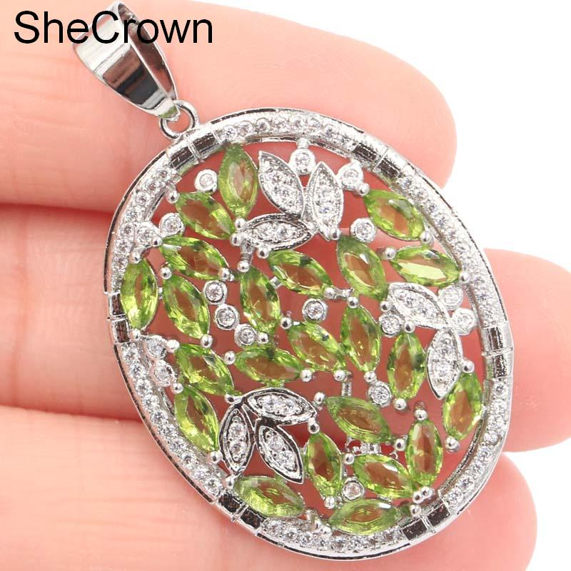 Pretty Green Peridot SheCrown White CZ Woman 39 Silver Pendant 41x25mm in Pendants from Jewelry amp Accessories