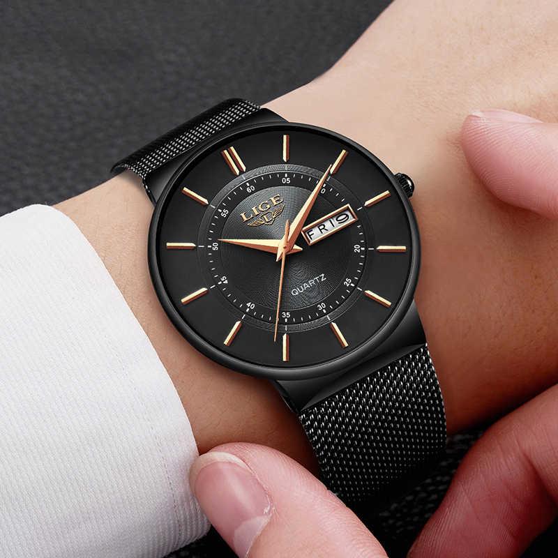 ליגע שעון גברים אופנה פשוט קוורץ שעונים גברים נירוסטה רשת להקת מקרית ספורט שעון יד תאריך אנלוגי זכר שעון 2019