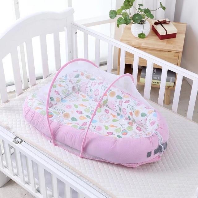 90*50 cm portátil de bebé de algodón nido cama cuna con mosquitero bebé dormir Pod casa Cama Infantil Niño cuna para bebé recién nacido