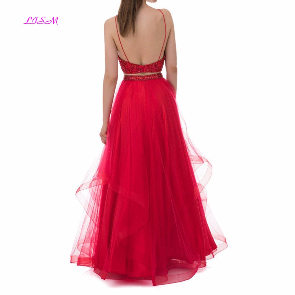 LISM New Arrival Long Prom Dresses Beaded Halter Neck Tulle Formal Evening Dress A Line Sleeveless Party Gowns Backless vestidos