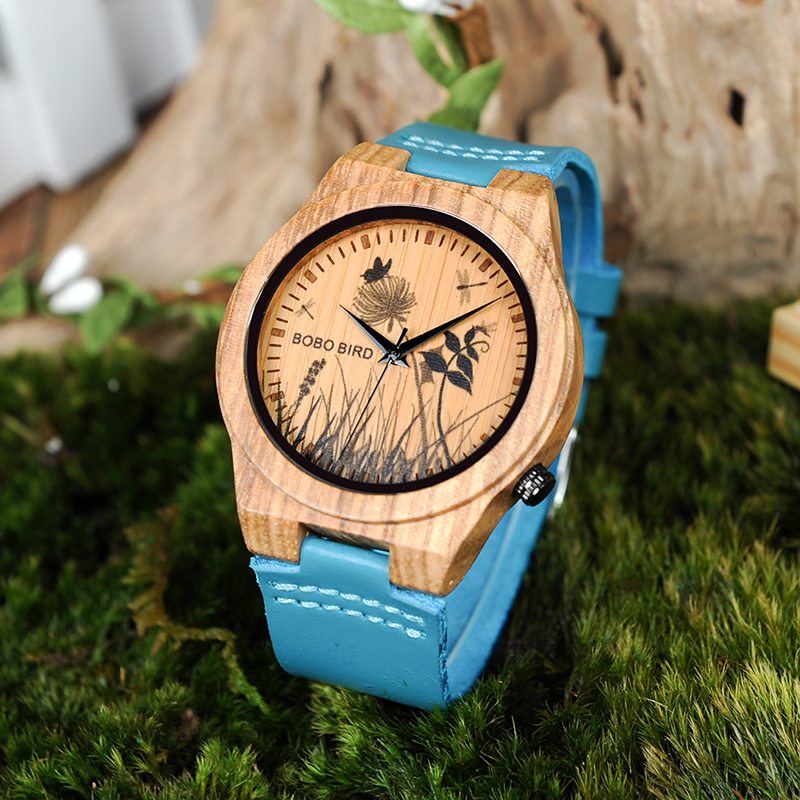BOBO BIRD Watch Men Wooden Lifelike Print Dial Face Quartz Watches Fashion 3D Visual Timepieces as