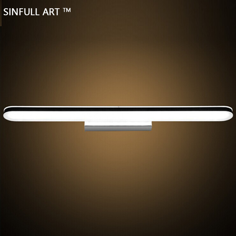 SINFULL anti-fog Bathroom lamp simple fashion LED Mirror light moisture-proof acrylic dresser wall lights indoor home lighting 40cm 12w acryl aluminum led wall lamp mirror light for bathroom aisle living room waterproof anti fog mirror lamps 2131