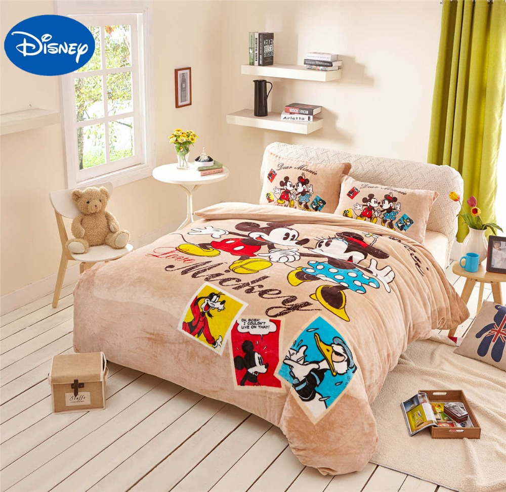 Disney flannel minnie duvet cover queen size 4pcs warm bed sheet ...