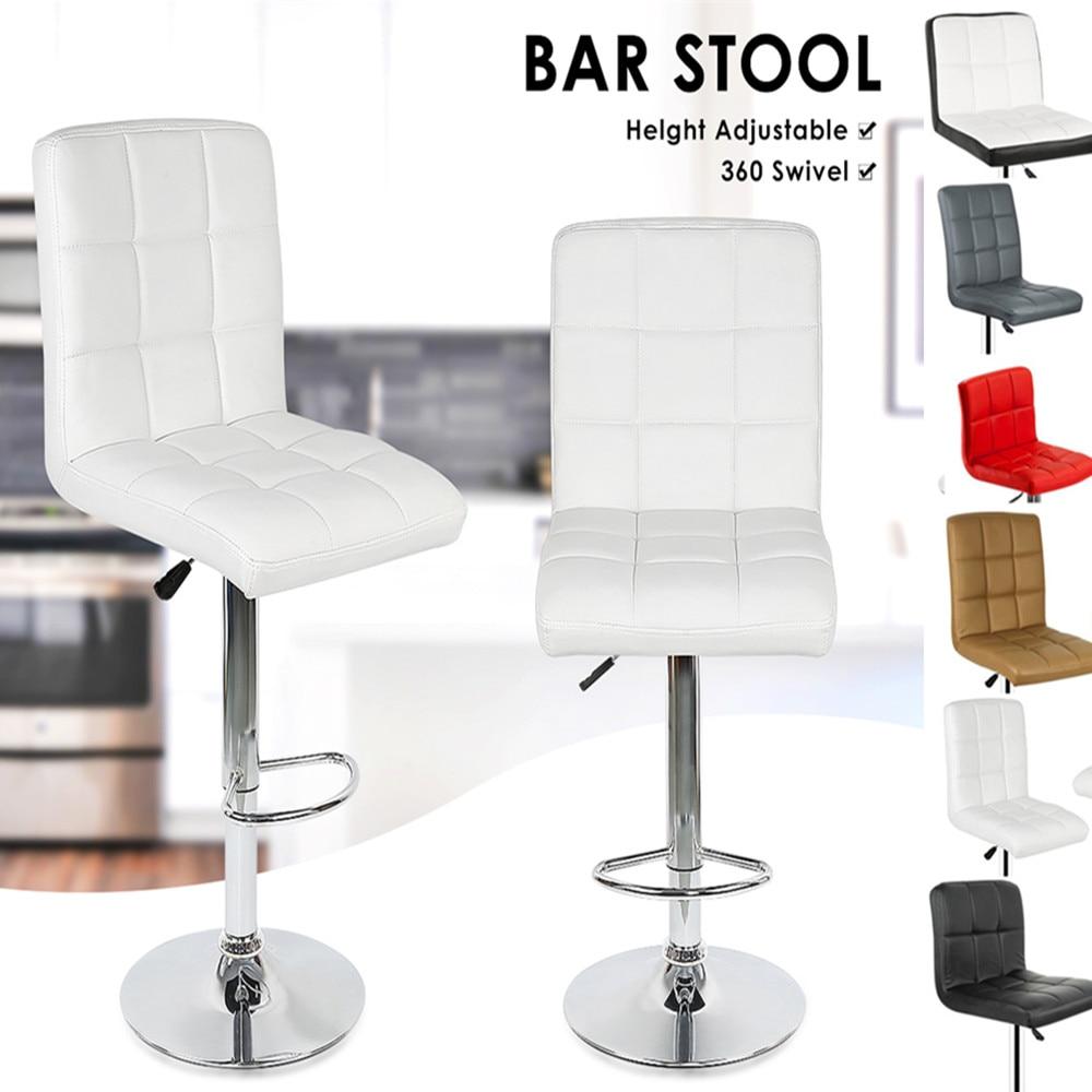 Modern 2pcs Bar Chair Synthetic Swivel Bar Stool Adjustable Lift Stool Bar silla cadeira de bar 6/9 Grids Home Furniture HWCModern 2pcs Bar Chair Synthetic Swivel Bar Stool Adjustable Lift Stool Bar silla cadeira de bar 6/9 Grids Home Furniture HWC