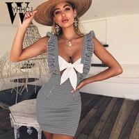 WYHHCJ 2018 Sexy Backless Summer Dress Sleeveless Off Shoulder Striped Women Dress Ruffles Casual Strap Mini